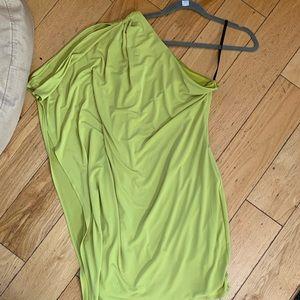 One shoulder neon green Calvin Klein mini dress